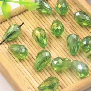 Beads, Selenial Crystal, Crystal, Bright green AB, Faceted Teardrops, 8mm x 12mm, 1 Bead, [ZZS0006]